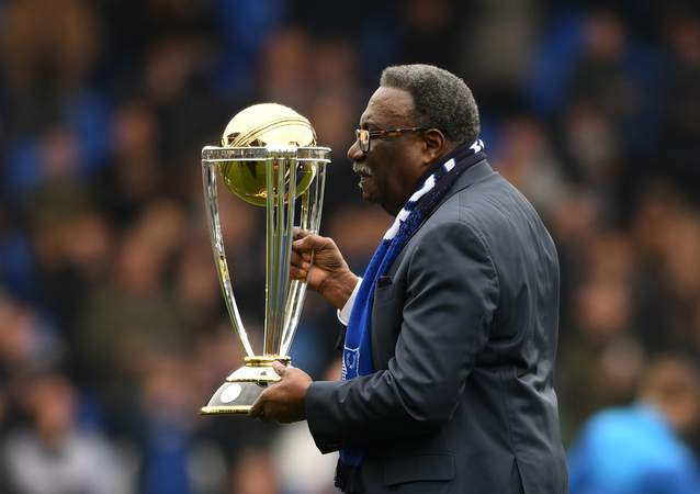 Clive Lloyd with the World Cup trophy