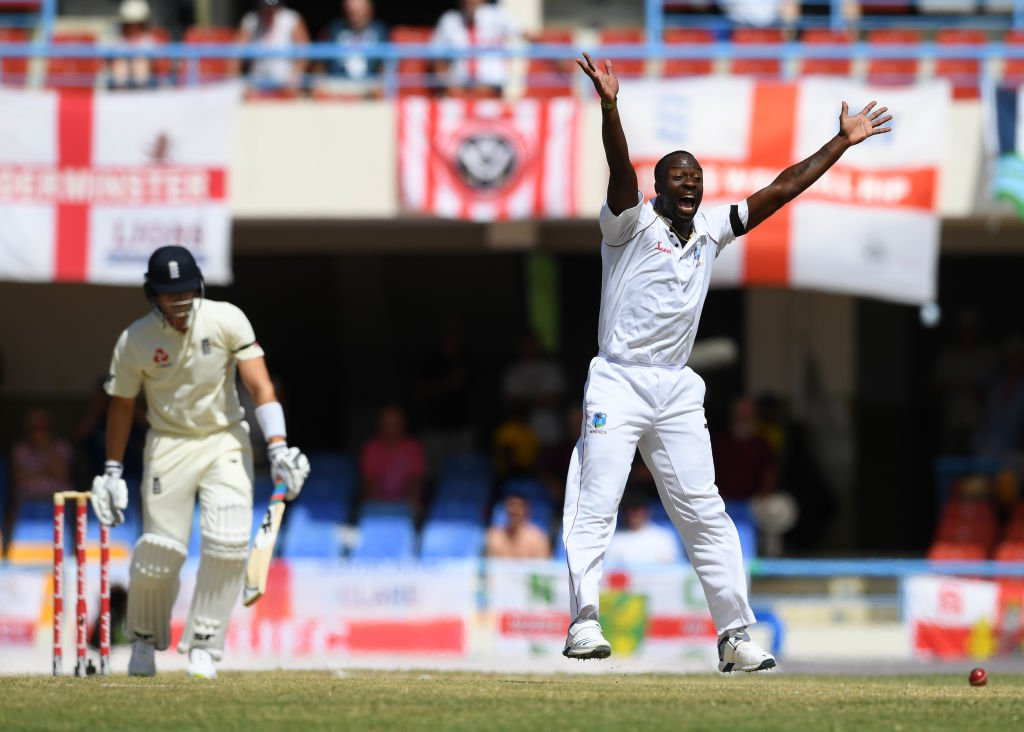 Kemar Roach appeals for another England wicket