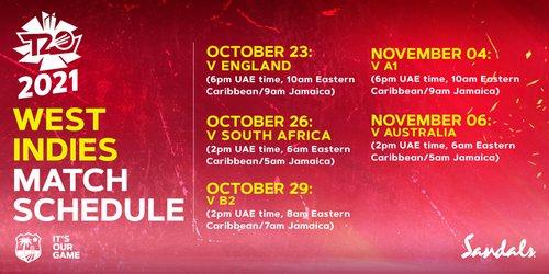 West Indies World Cup schedule 2021