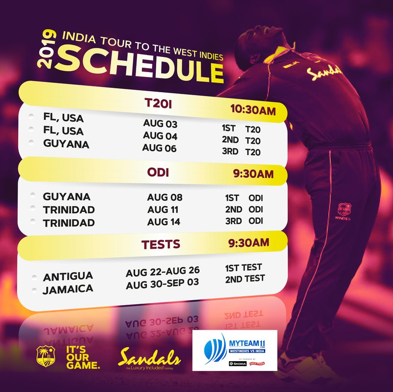 Image result for india west indies 2019 schedule