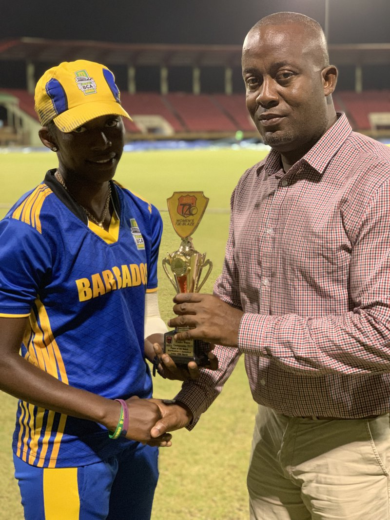 Shanika Bruce receiving her Player of the Match.jpg