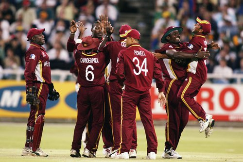 West Indies celebrate the fall of Shaun Pollock, the sixth wicket.jpeg