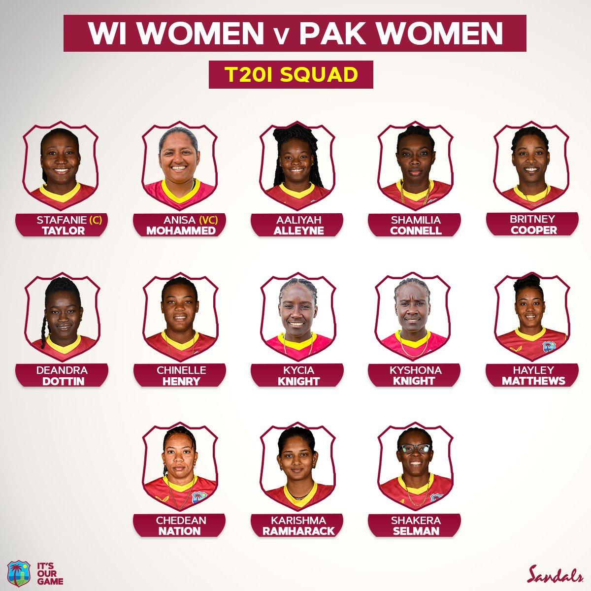 West Indies Women's Squad v Pakistan