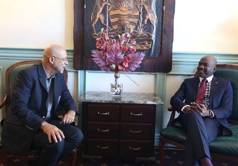 President Skerritt talks with Minister of Sports.jpg