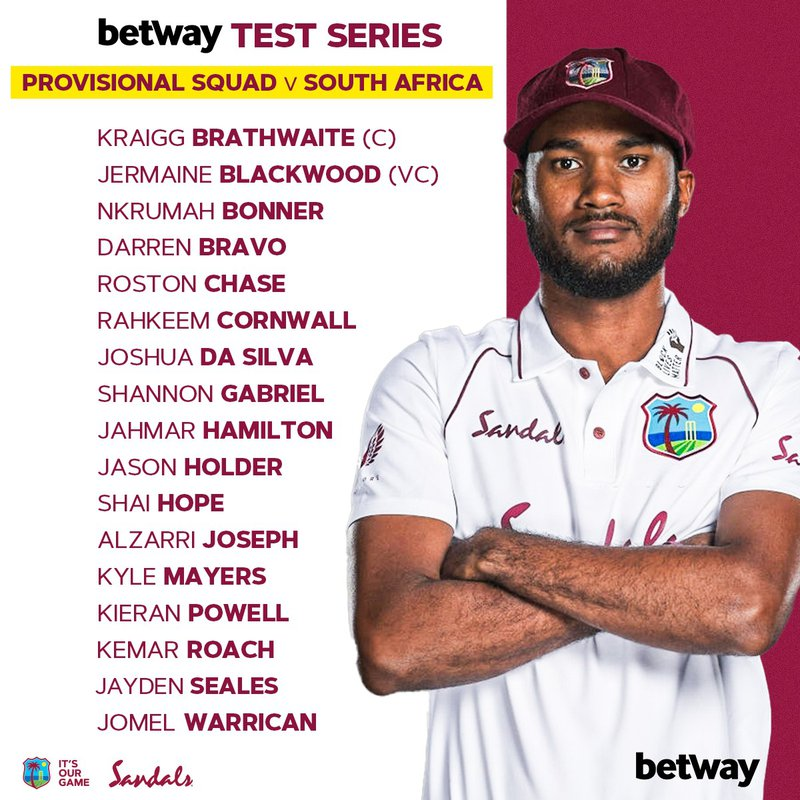 South Africa provisional Test squad