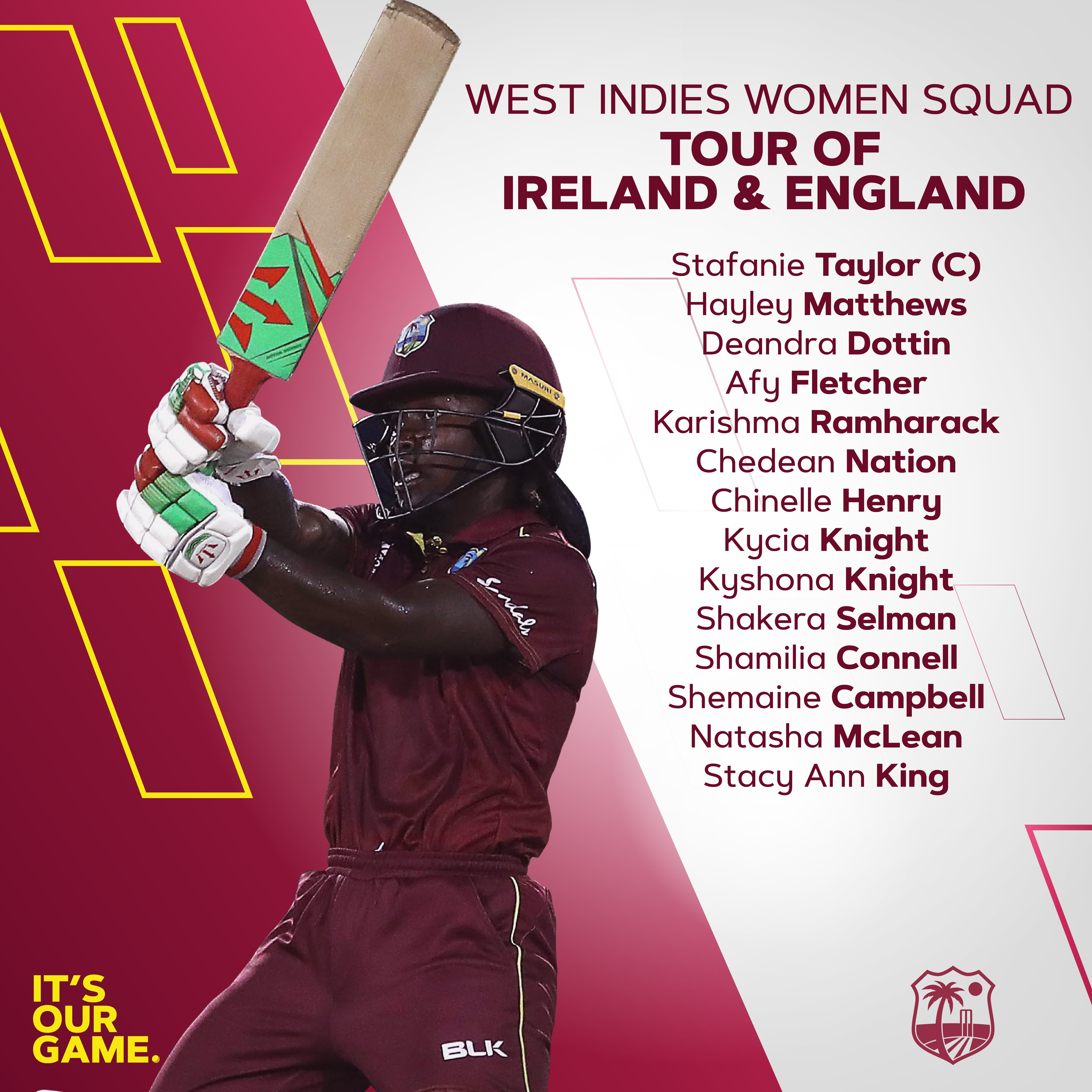 WEST INDIES WOMEN SQUAD ANNOUNCED FOR IRELAND AND ENGLAND