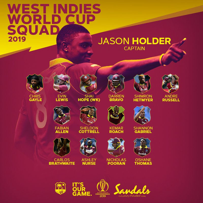 SQUAD FOR ICC CRICKET WORLD CUP 2019